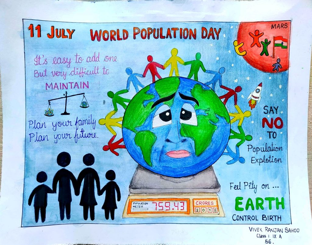 World Population Day Drawing by Cdt. VIVEK – India NCC